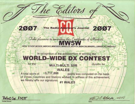 Diplom MW5W z CQWW 2007