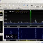 Screenshot SDR Console: spektroskop, vodopár a nastavení filtrů