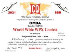 Diplom z CQ WPX SSB Contest-u 2021