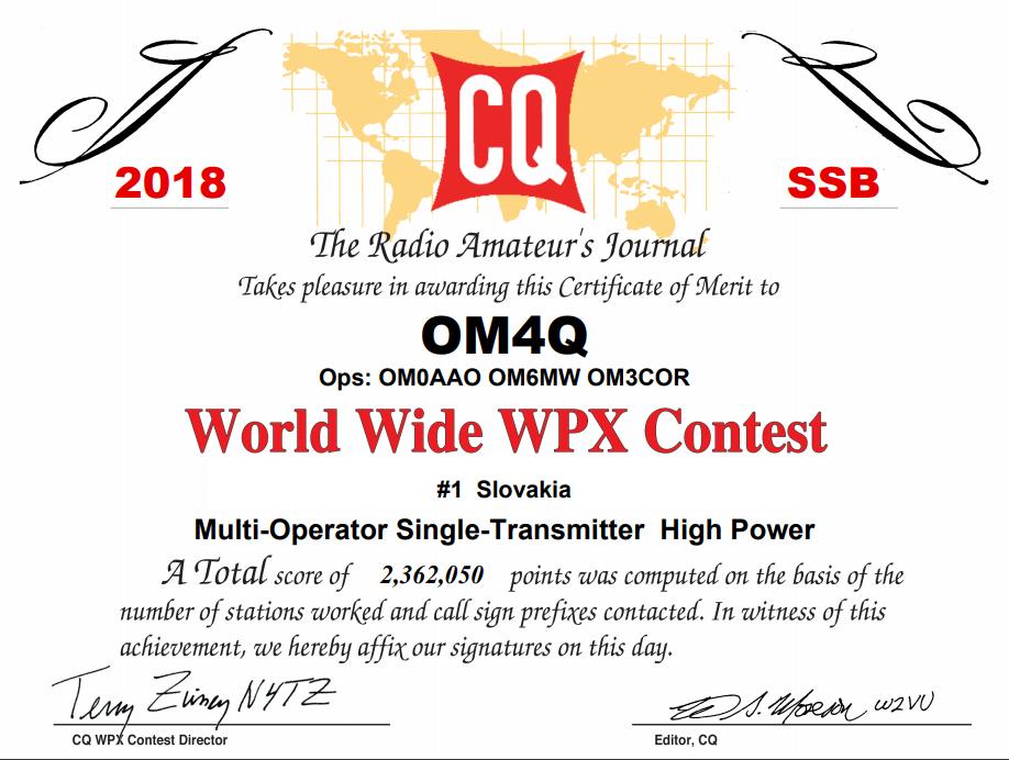 CQ WPX SSB 2018 OM4 diplom