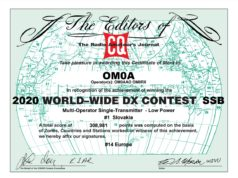 CQ World Wide DX Contest diplom OM0A