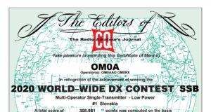 CQ World Wide DX Contest diplom OM0A