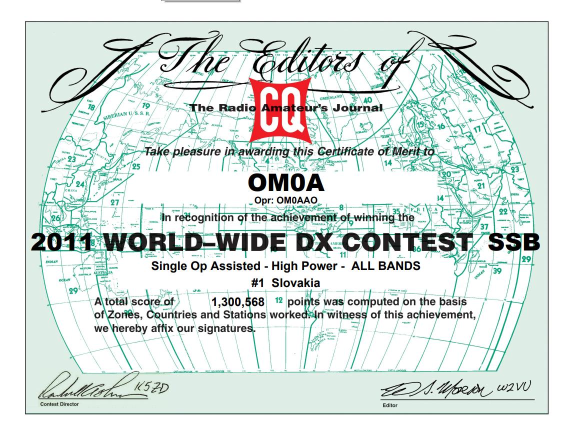 CQ WW Contest OM0A 1st Xtreme