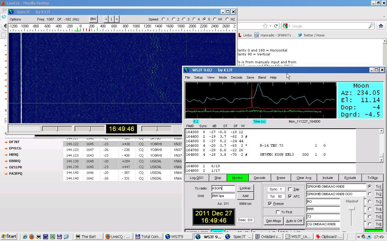segnale K5GW catturato OM0AAO