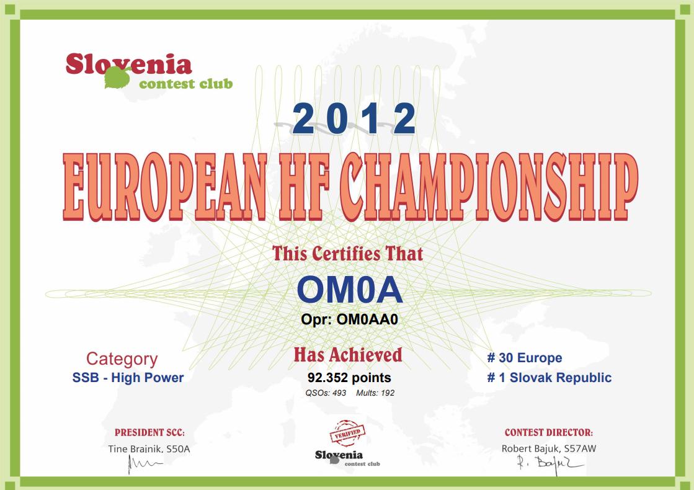 EU HF Championship Contest 2012 diplom OM0A