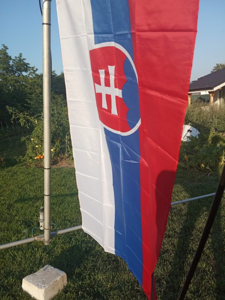 The flag of the Slovak Republic went on the pole as well